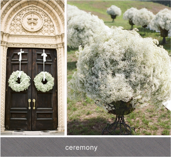 baby's breath ceremony door wreaths urns aisle