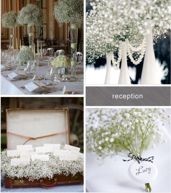 baby's breath centrepieces centerpieces escort cards place names